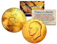 1976 BICENTENNIAL EISENHOWER IKE DOLLAR 24K GOLD PLATED COIN with COA & CAPSULE