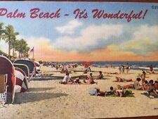 Palm Beach- It's Wonderful Vintage Linen Florida Postcard
