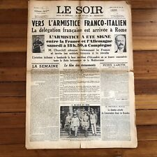 1940 Ww Ii Nazi Occupation newspaper France Surrenders 2 Hitler Churchill Speech