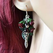 Garnet Rose Goddess Pagan Earrings - Wicca, Summer Jewellery, Clay Flowers