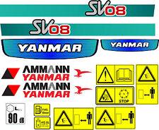YANMAR sv08 MINI Digger Decalcomania Set con sicurezza segnali di avvertimento