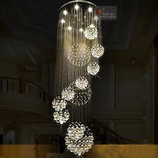 220cm Luxury Large Long Villa Chandelier K9 Crystal Ceiling  Stair Lighting Bar