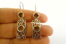 Yellow Citrine 2-Stone 925 Sterling Silver Dangle Earrings