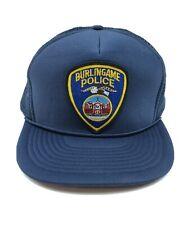 Vintage Burlingame CA Police Department Hat Baseball Trucker Foam Mesh Hat Cap