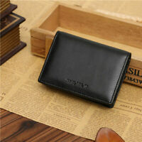 Men's Business Leather Bifold Wallet Credit ID Card Holder Mini Purse Money Clip
