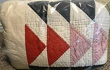 Pottery Barn Mitsy misty TRIANGLE patchwork FULL QUEEN quilt