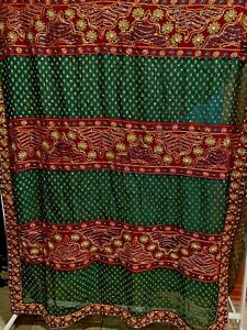 Bollywood Drama Chiffon  Sari- Traditional Colors-Art To wear-decor-Redesign-VVG