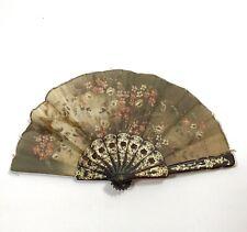 Antique vintage hand paper fan delicate floral