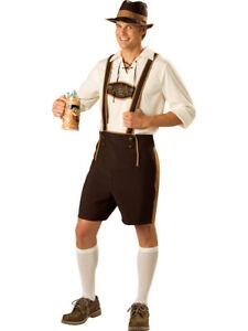 Mens Bavarian Beer Man Oktoberfest Fancy Dress Costume German Lederhosen
