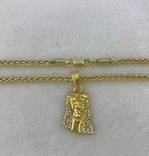 Real 14k Gold Clad Jesus Head Face Knitted Round Franco Rope Chain Necklace 3mm