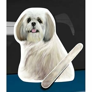 Shih Tzu Brown/White Dog Rear Car Window Sticker Wagging Tail To Fit On Wiper
