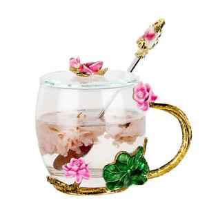 Enamel Office Coffee Mug Water Cup Glass Cup Flower Tea Lotus Cup with Lid Spoon