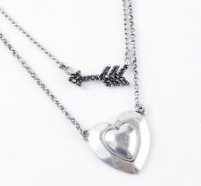 "Hematite Two-Row Silver-Tone 17"" Necklace $39 Lucky Brand Heart and Arrow Pave"