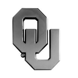 Oklahoma Sooners Heavy Metal Auto Emblem [NEW] NCAA Chrome Car Decal Fanmats