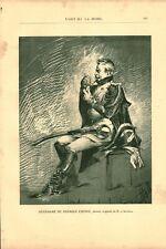 Gravure ancienne 1889 gendarme premier empire dessin de H. d'Acosta issue livre