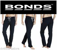 WOMENS BONDS BLACK WIDE LEG TRACKIES TRACKIE GYM PANTS TRACK + FREE TRACKING