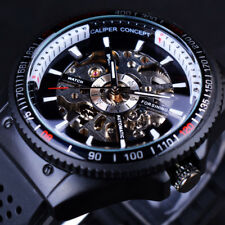 Luxury Automatic Black Mechanical Watch Forsining Rotating Sport Design Silicon