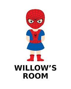 Printable, Wall Art, Childs Room Name Prints, Kids Prints- Spiderman Girl