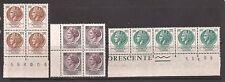 1968/71 TURRITA FLUORESCENTE GOMMA ARABICA L. 100 + 180 + 300 IN 2 BLOCCHI E 1 S