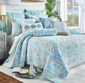 Levtex Home Deva Beach 3 Piece Reversible King Quilt Set in Teal
