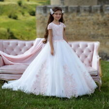 New Pink Lace Flower Girl Dress Short Sleeve With Train Pageant Party Ball Gowns