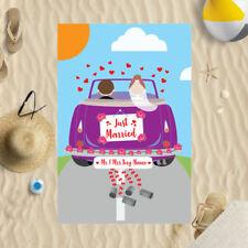 "58 x 39"" Personalised Beach Towel Just Married Car Design Microfibre Wedding"