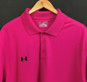 Under Armour HeatGear Men's Performance Polo Shirt Short Sleeve Pink sz XL