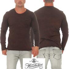 Herrlicher señores manga larga camisa Runner Jersey striped camuflaje