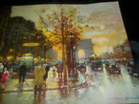 "VINTAGE CITYSCAPE LITHO ART PRINT 16"" X,20"" I THINK PARIS?"