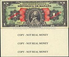 REPUBLICA DE MANANA PANAMA LOOKALIKE PARODY SPOOF FAUX NOTE UN BULBOA - NEW!!