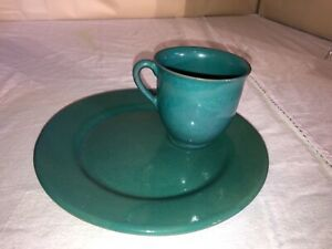 Paul Revere Pottery Cup and Saucer/Luncheon Plate Set-Signed-Teal Blue-c 11-1935