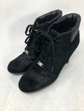 Tods Womens Black Block Heel Lace Up Cowhide Leather Booties Size 39 US 9