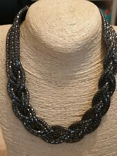 Fashion Jewellery Necklace black seed beads platted style