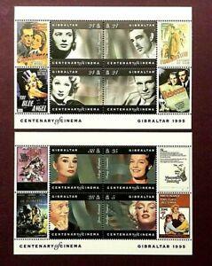 GIBRALTAR 1995 - CENTENARY OF CINEMA MINIATURE SHEETS X 2 - MINT NEVER HINGED
