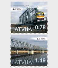 Railway Bridges mnh set of 2 stamps 2018 Latvia Train Europa
