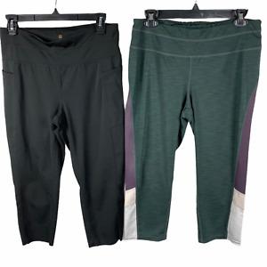 Tangerine Capri cropped athletic pants LOT of 2 Leggings Size Large Black/Purple