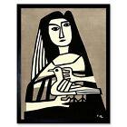Japan Fujishima Takeji Woman Pigeon 12X16 Inch Framed Art Print