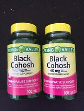 2 Spring Valley Black Cohosh 40 mg 100 Tablets Menopause Support 05/20 05/21