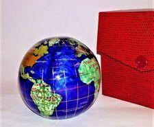Jeweled Paperweight of Globe - Semi Precious Stones - Gift/Storage Box