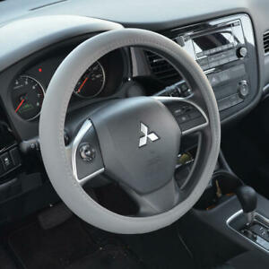 """Sporty Soft Leather Grip Steering Wheel Cover Universal Size 14.5-15.5"""" Gray"""