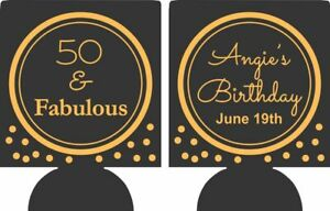 50th and fabulous Birthday koozie personalized can coolers 8956