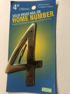 """Solid Brass House 4"""" Inch High Address Number Polished Brass # 4"""