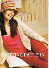 (721) Ladies Cardigan COPY Knitting Pattern, 4ply cotton yarn, 81-116 cm bust