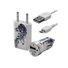 Chargeur maison + allume cigare USB + câble data pour Wiko Cink + avec motif HF0