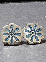 "TAXCO Sterling Silver & Turqoise Inlay Earrings - 12g - 1"" Wide"