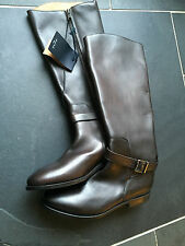 Paul Smith Women BROWN Leather Buckle Boots UK6 EU 39 - Made In Italy