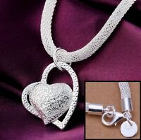 Valentine's 925 Sterling Silver Womens Heart Snake Link Chain 5mm Necklace D648