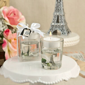 10-70 Eiffel Tower Gel Candle Holder w/ White Rose Parisian Wedding Party Favor