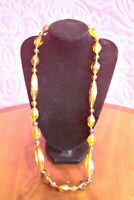 Vintage 1970s Faux Amber Beaded Necklace / Large Amber Colored Resin Necklace /