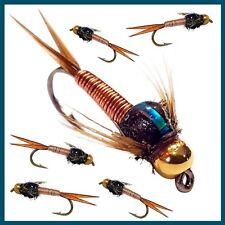 Trout Fly Fishing Flies Bead Headed Nymph Buzzers - Black X 20 Flies. Hook 10
